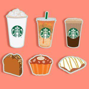 6 Custom Starbucks Fall Menu Stickers GLOSSY
